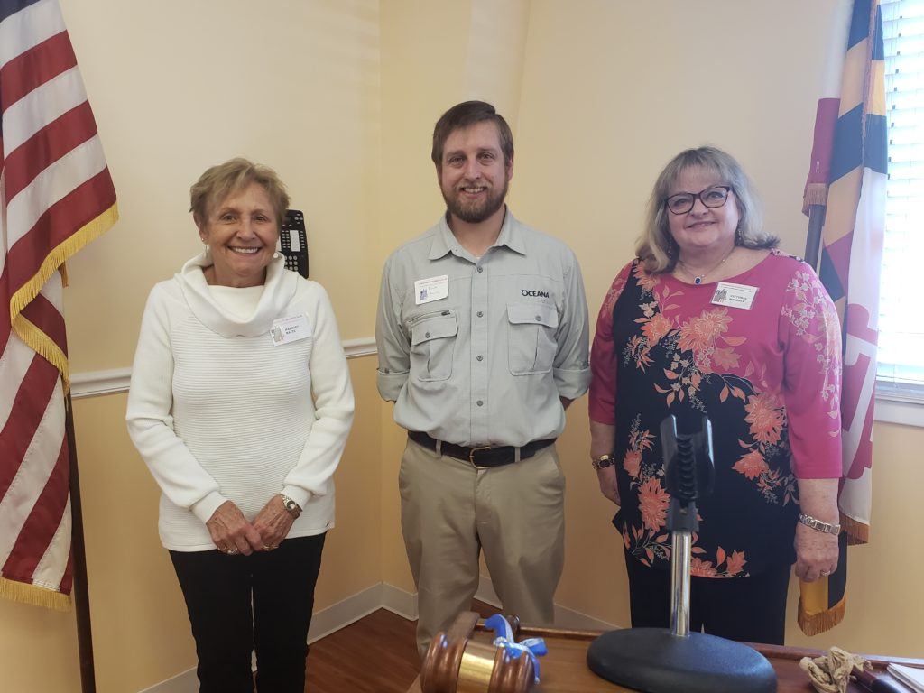 Matt Heim, the Mid-Atlantic campaign organizer for Oceana, an international ocean advocacy organization, was the speaker at the January meeting of the DWC.  He is pictured with Harriet Batis, DWC Co-Vice-President and Vicky Wallace, DWC President