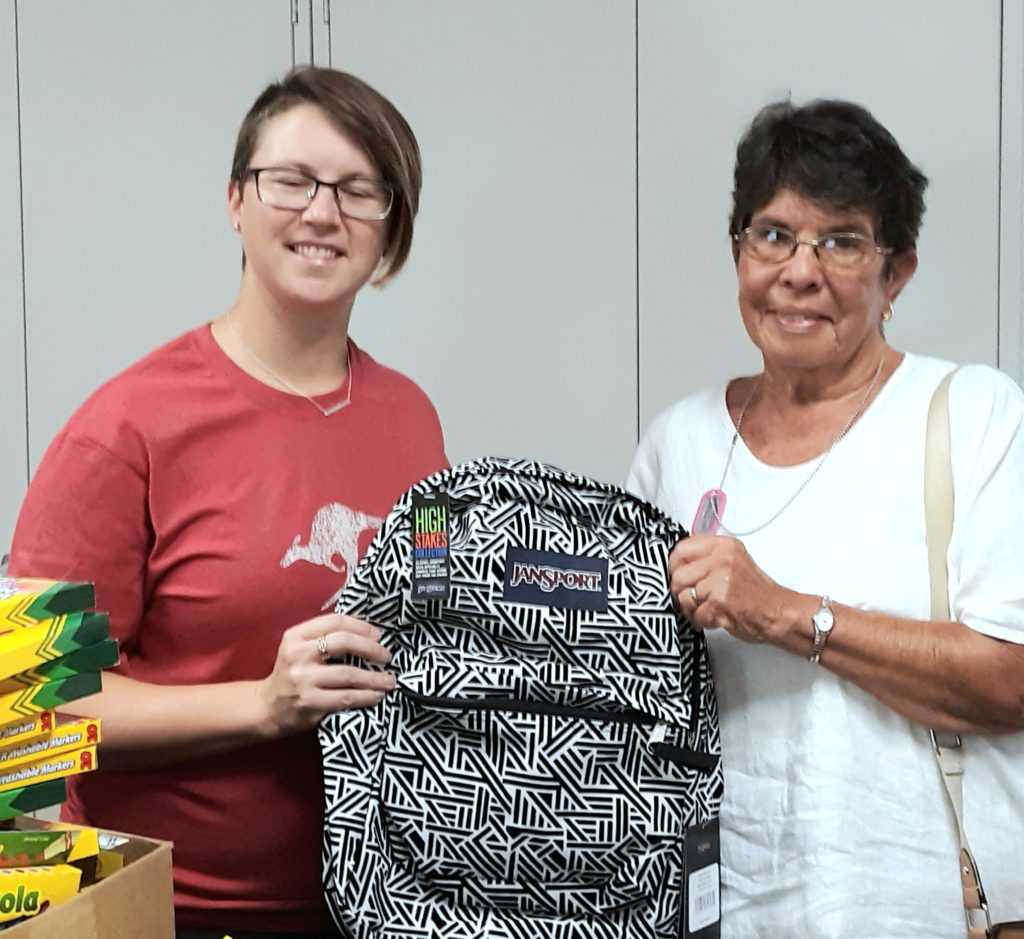 Linda Linzey delivering school supplies to Worcester County Gold