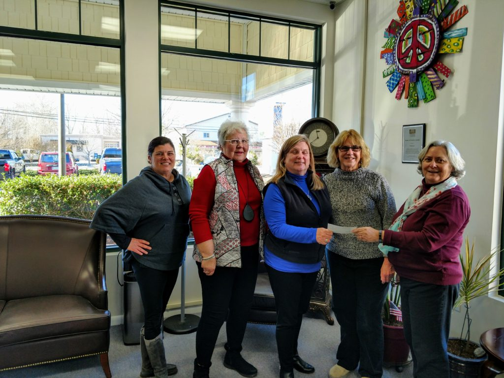 DWC Members Doris Fields, Sandy Sribnick and Debbie Shuster presented a donation of $1,175.00 to the Diakonia food pantry in January 2019.  Accepting the donation were Executive Director Claudia Nagle and food pantry manager Michelle Ascoli.
